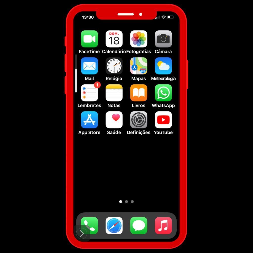 Ecrã do iPhone com o Ícone de Definições.