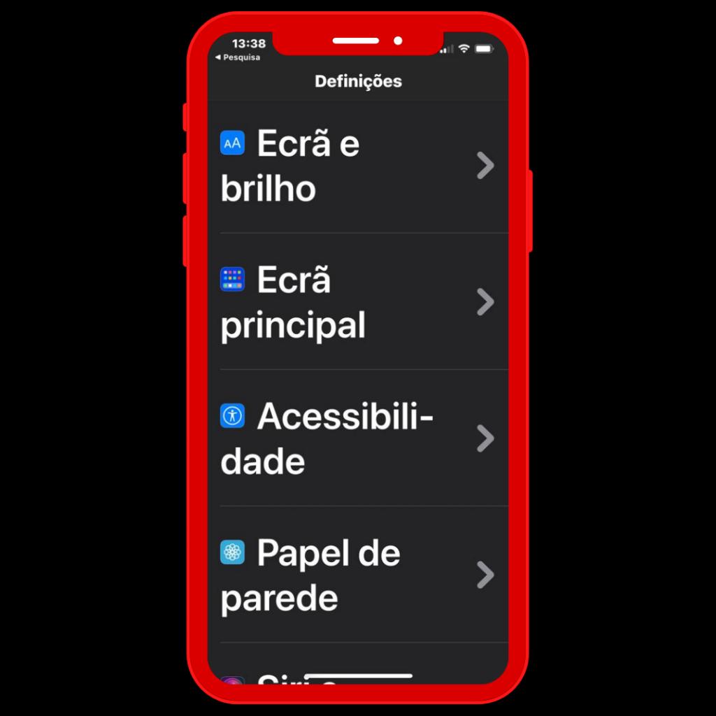 Ecrã do iPhone em Definições: Ecrã e brilho, Acessibilidade e Papel de parede.