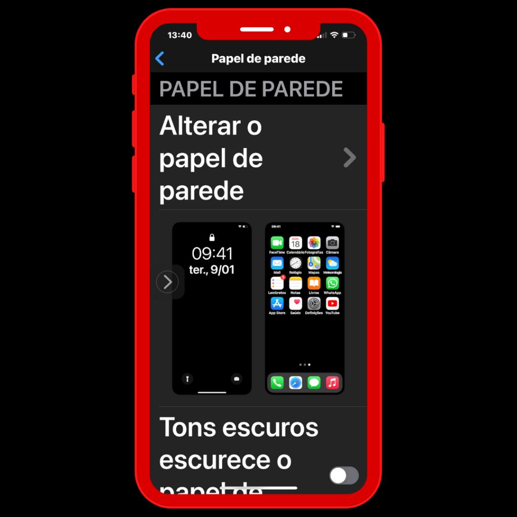 Ecrã do iPhone função Papel de parede: Alterar.