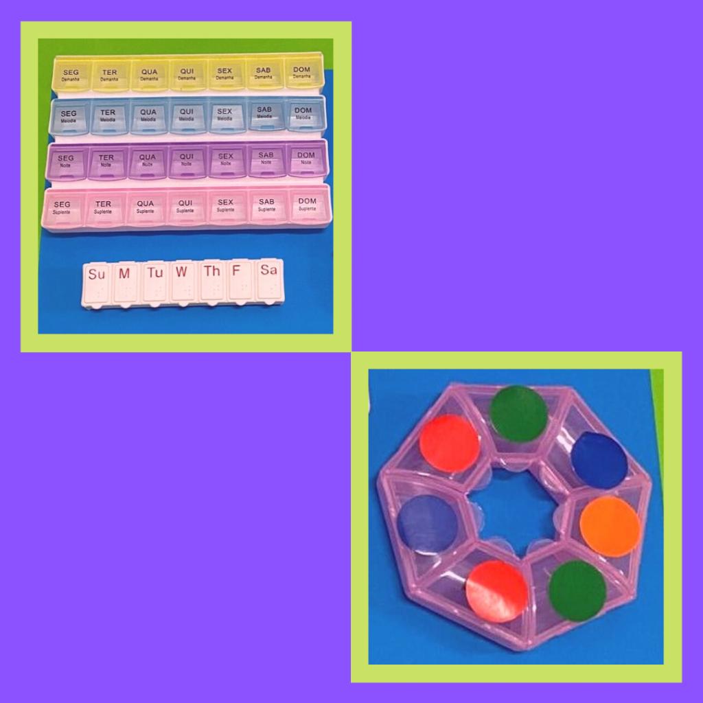 Caixas de guardar comprimidos para toma diária e semanal.