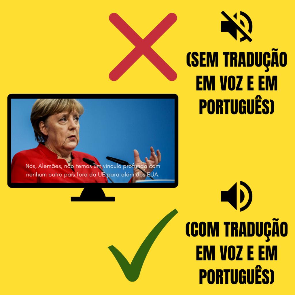 Imagem na TV com legendas escritas. O errado e o certo com tradução em voz.