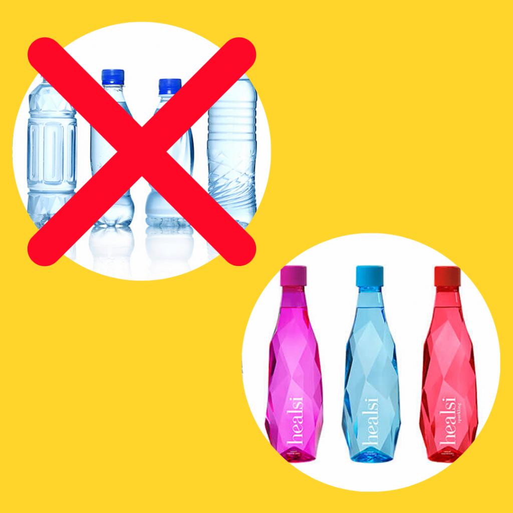 Garrafas de água transparentes com um X e garrafas de água de cores vivas.