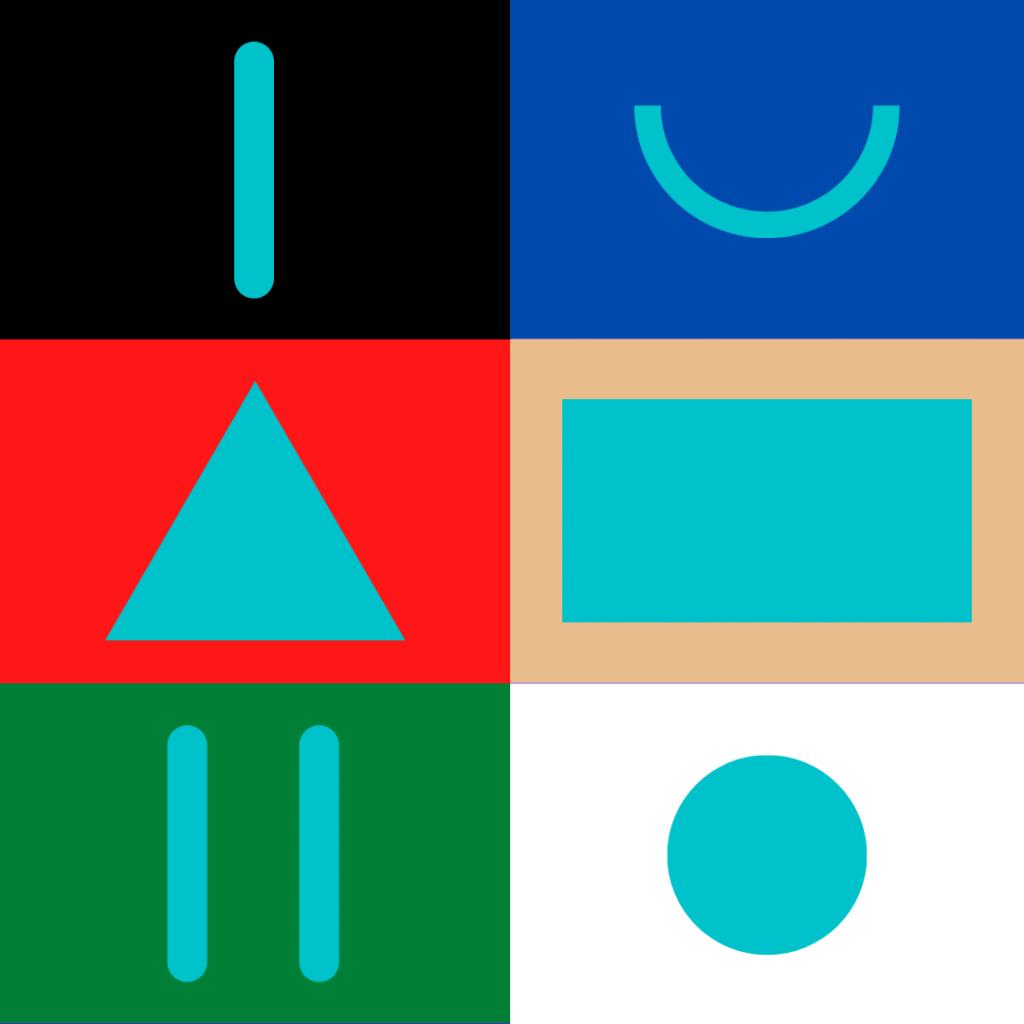 Símbolos das cores : Preto corte, azul corte em meia lua, vermelho corte em triângulo, bege corte em retângulo, verde 2 cortes e branco um furo no meio.
