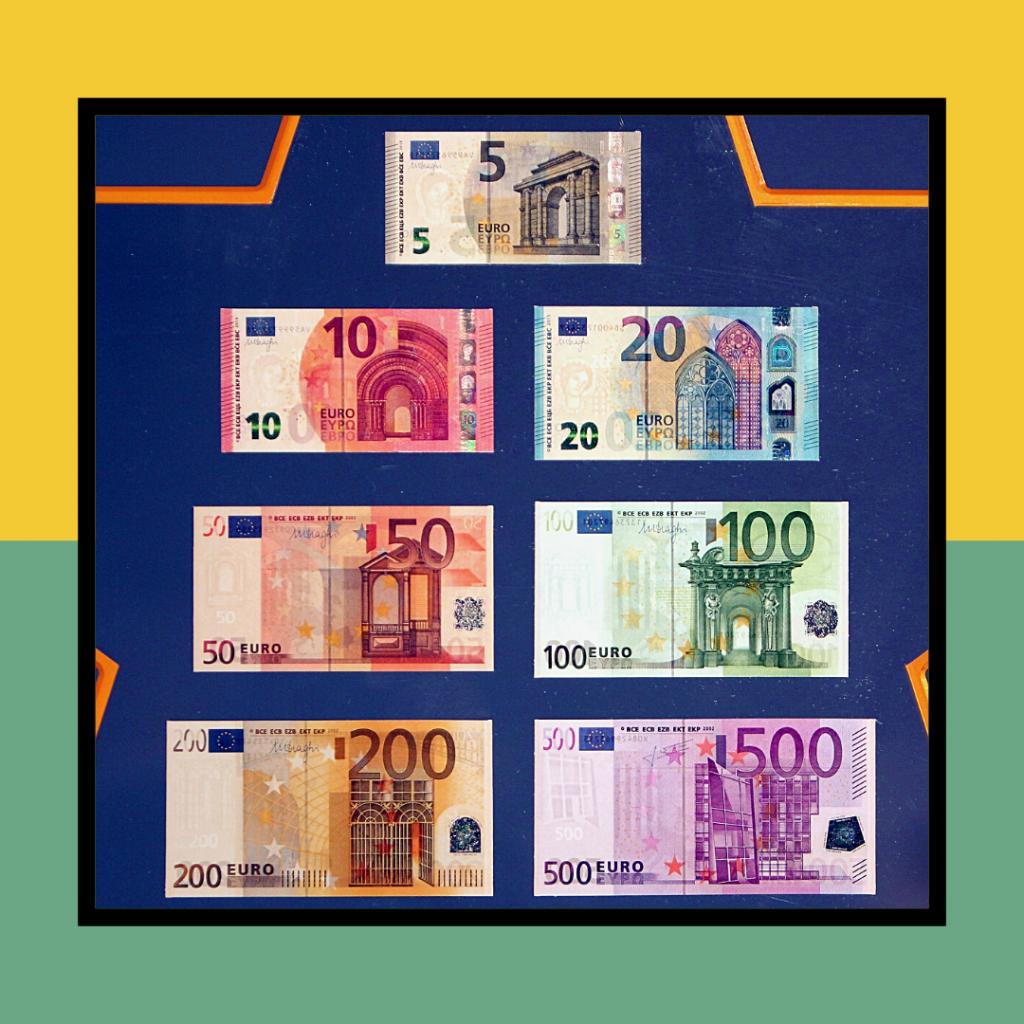 As várias notas do Euro.