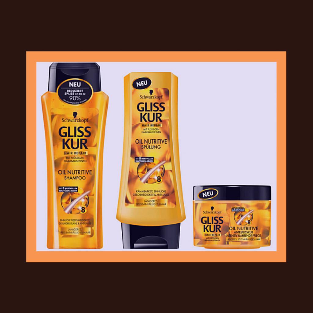 3 produtos para o cabelo com formatos de embalagens diferentes.