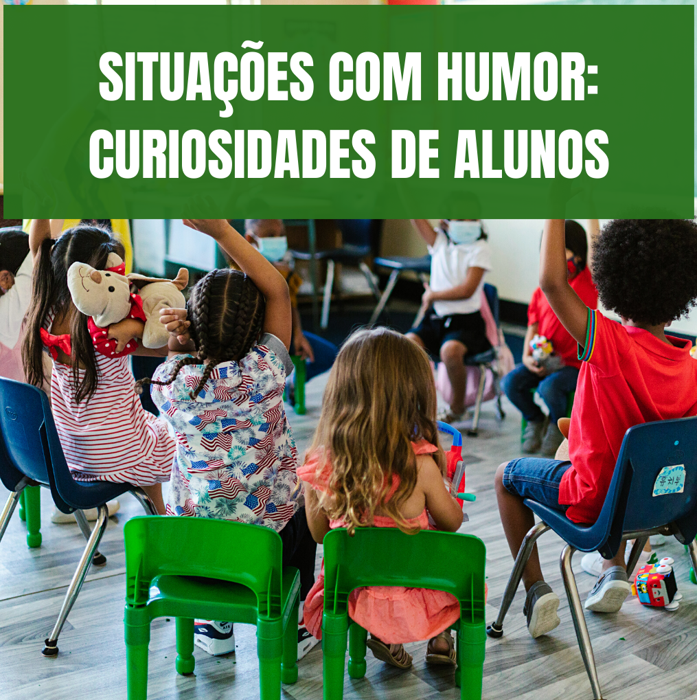 Alunos em sala de aula, sentados com os braços no ar, para colocarem questões.