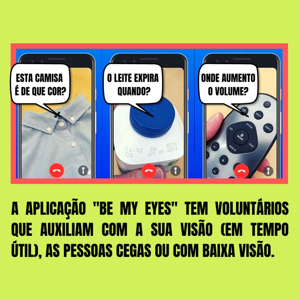 Estão retratadas 3 situações em que as pessoas com deficiência visual recorrem à ajuda dos voluntários.