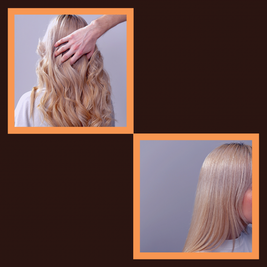 2 penteados um cabelo liso e um ondulado.