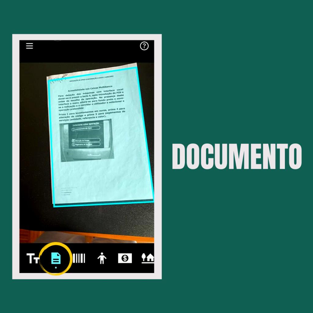 Imagem do telemovel a usar o canal documentos.