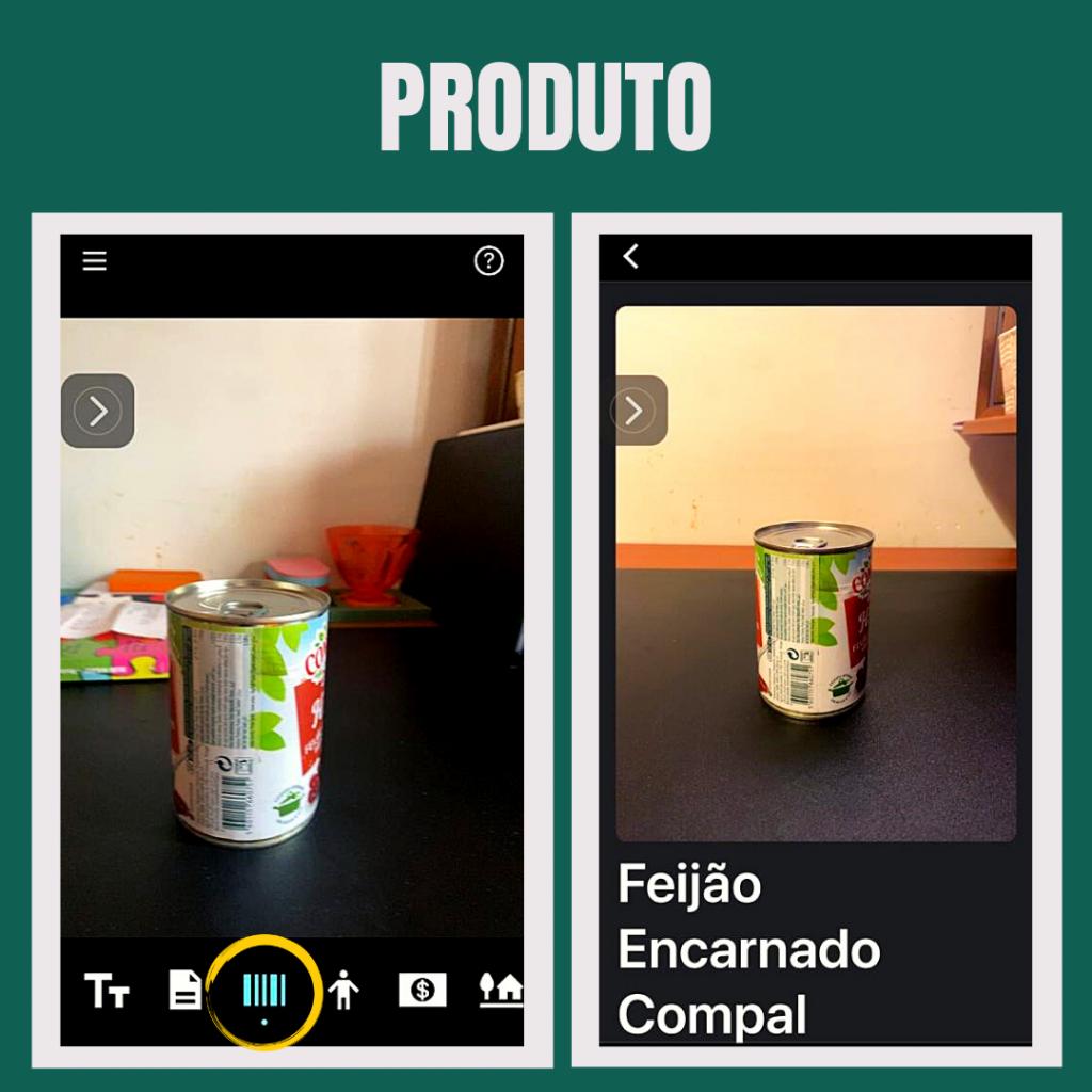 Imagem do telemóvel a usar o canal produtos.