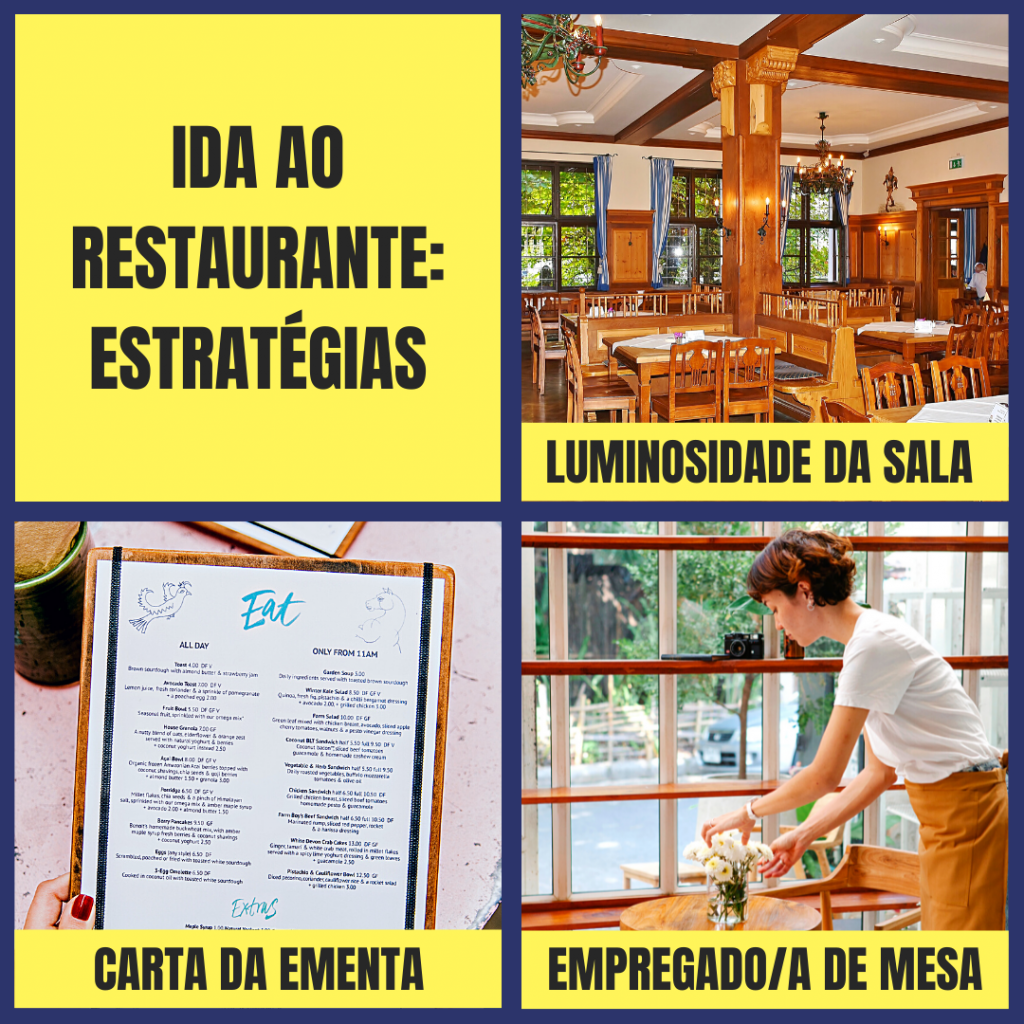 Ida ao restaurante, estratégias: luminosidade da sala, carta da ementa, empregado de mesa.